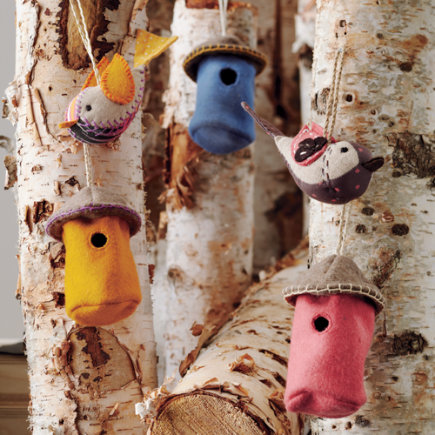 Kids Ornaments: Bird and Birdhouse Tree Ornaments - Orange Tweet Life Ornaments (Set of 2)