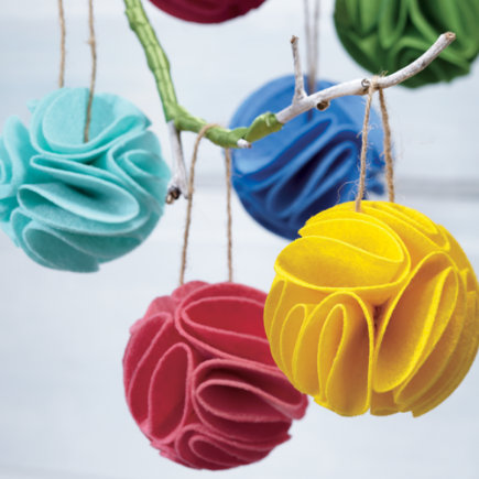 Kids Ornaments: Frilled Felt Ornaments - Grey Frilled Felt Ornament