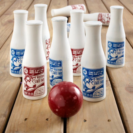 Kids Outdoor Toys: Wooden Bowling Set - Milk Bottle Bowling Set
