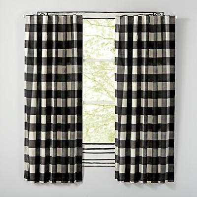"96"" Buffalo Check Black Blackout Curtains"