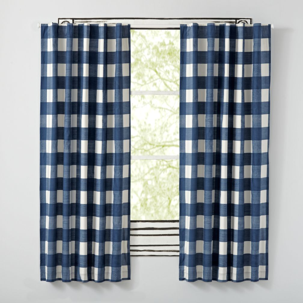 "63"" Buffalo Check Blue Blackout Curtains"