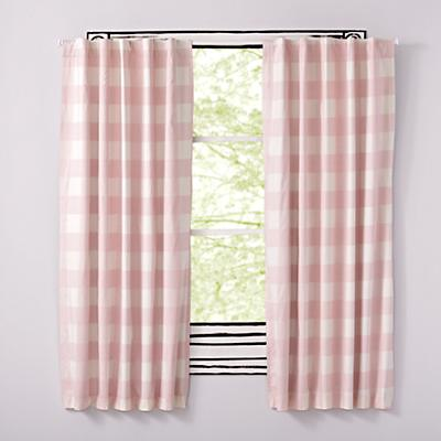 "96"" Buffalo Check Pink Blackout Curtains"