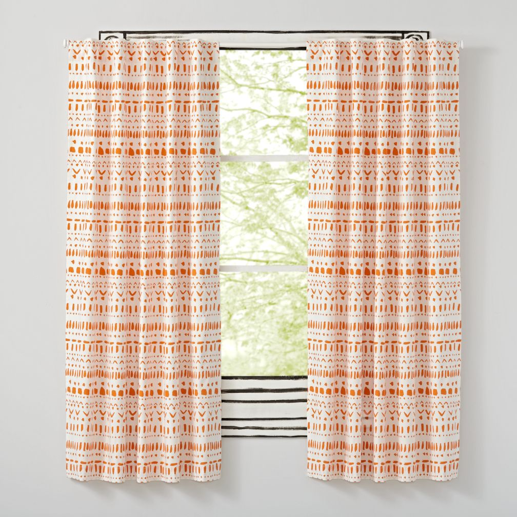 "63"" Wild Excursion Orange Curtain"