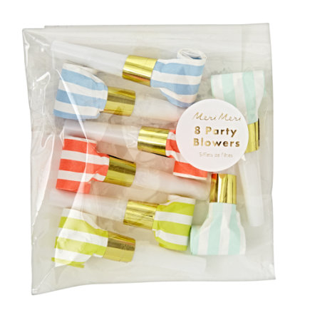 - Bright Stripe Party Blowers (set Of 8)