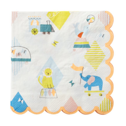 Silly Circus Party Napkins (Set of 20) - Set of 20 Silly Circus Party Napkins