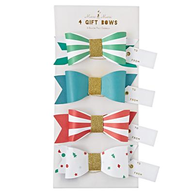 Glittered Red and Green Gift Bows