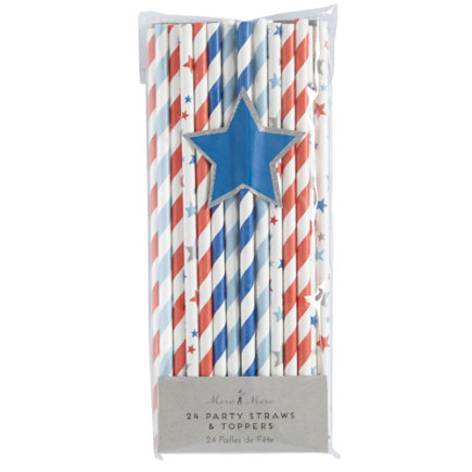 4th of July Paper Straws - Set of 24 4th of July Paper Straws