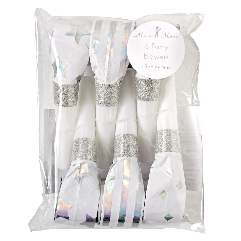 Silver Party Blowers (Set of 6)
