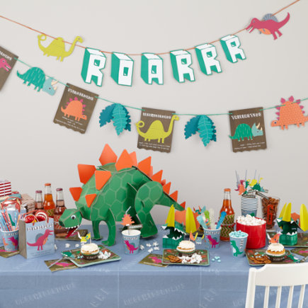 Square Dinosaur Party PlatesSet of 12
