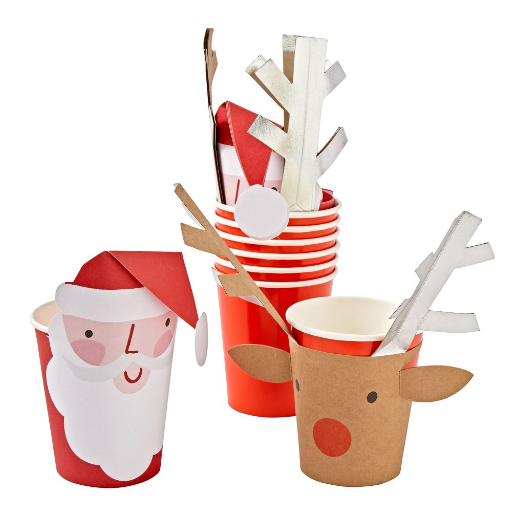 Santa and Reindeer Party Cups