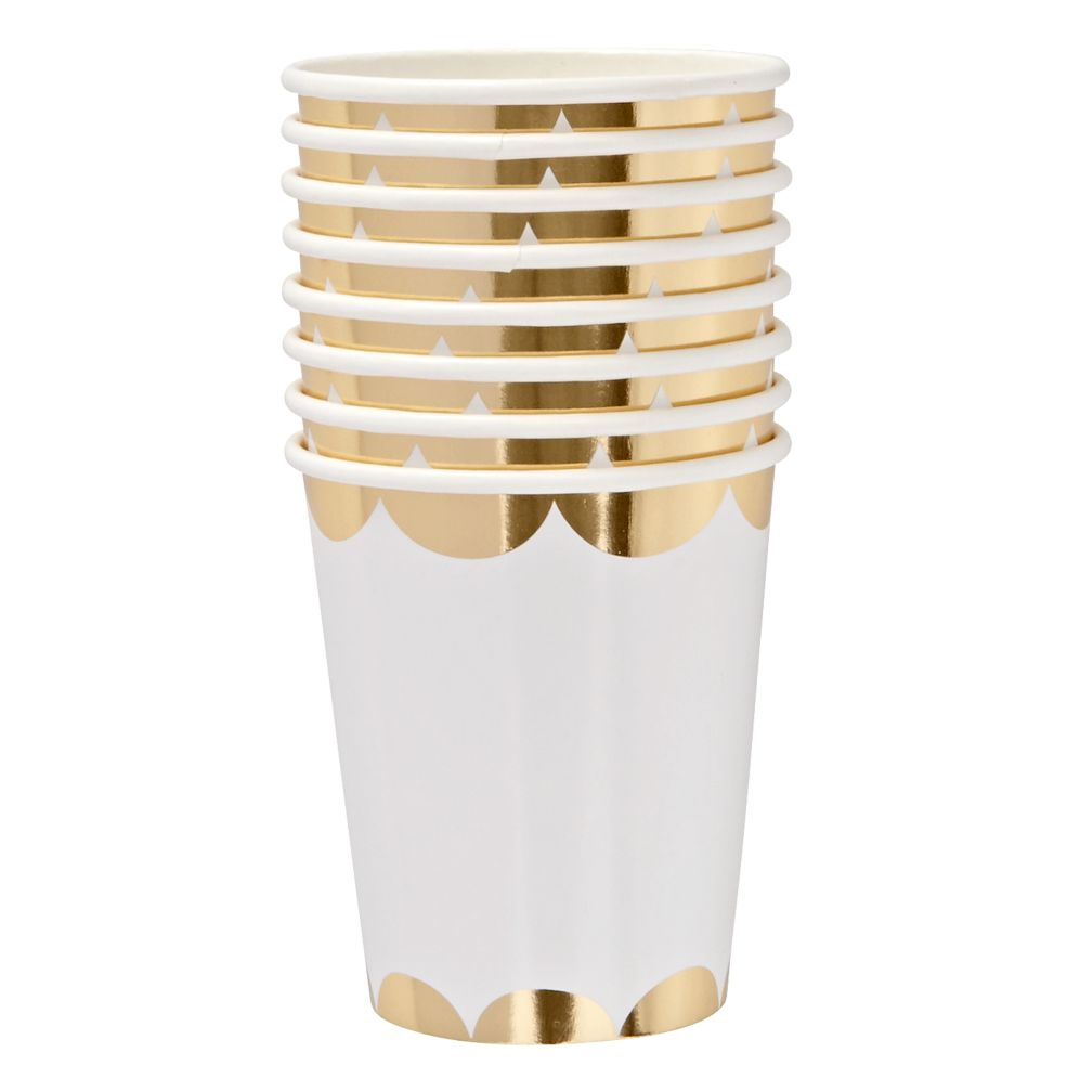 Gold Scallop Party Cups (Set of 8)