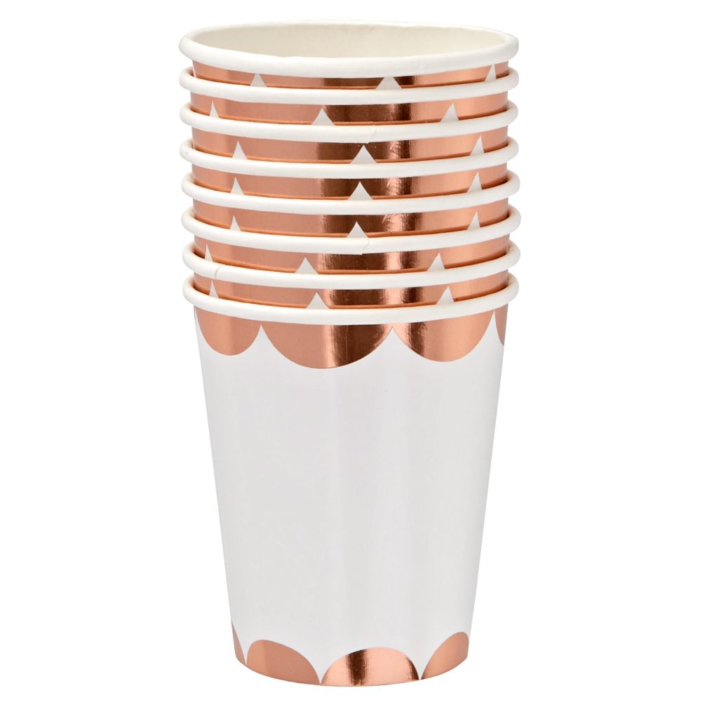 Set of 8 Scallop Party Cups (Rose Gold)