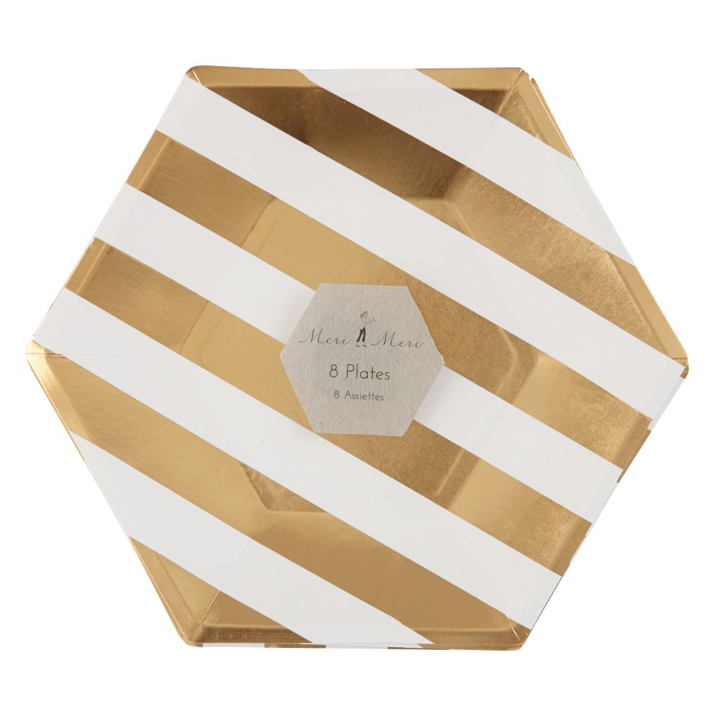 Toot Sweet Gold Stripe Party Plates (Large)