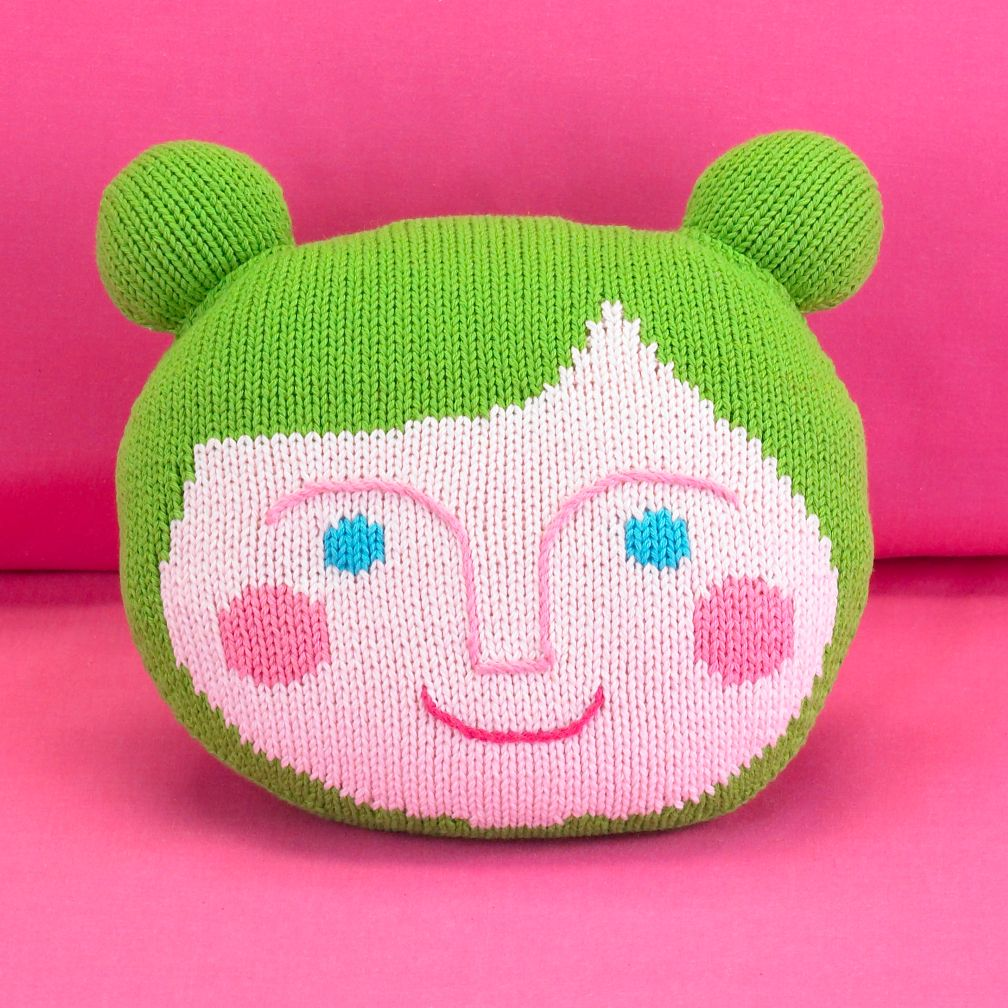Kids' Throw Pillows: Kids Green Hand Knit Throw Pillow People