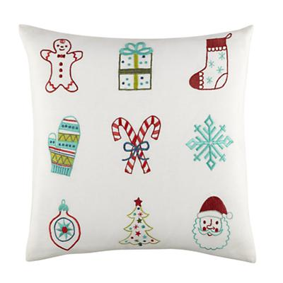 Embroidered Christmas Throw Pillow Cover