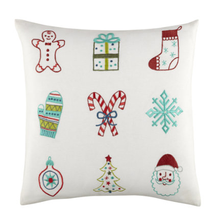 Kids Throw Pillows: Christmas Themed Throw Pillow - Embroidered Christmas Pillow Set