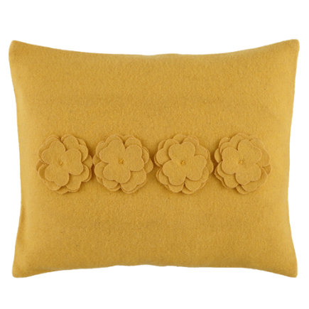 Kids Throw Pillows: Kids Yellow Floral Bouquet Throw Pillow - Yellow Die Cut Throw Pillow