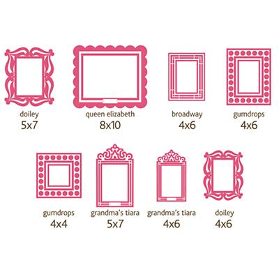 Pink Stick on Frames (Set of 8)