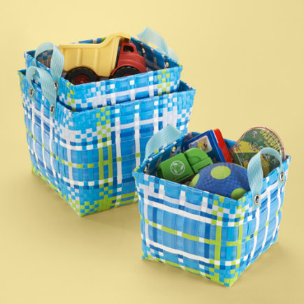 Kids Storage: Kids Blue Plaid Strapping Storage Set - S/3 Blue Plaid Cube Strapping Basket