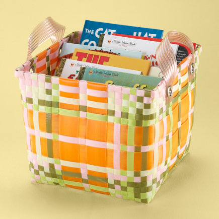 Kids Storage: Kids Orange Plaid Strapping Storage Bin - Pink Plaid Cube Strapping Basket