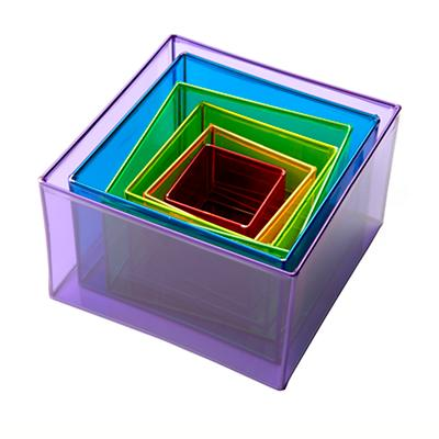 Colored Plastic Boxes (Set of 6)