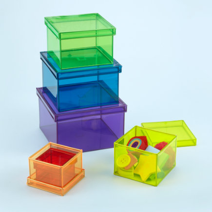 Kids Storage: Colorful Nesting Storage Bins - Colored Plastic Boxes (Set of 6)