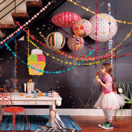 Kids Room Hanging Decor: Colorful Yellow Shape Circle Garland - Yellow Circle Garland