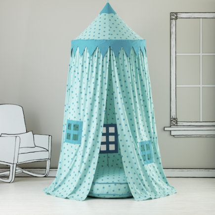 Kids Canopy: Teal Polka Dot Play Circus Tent - Teal Polka Dot Play Canopy