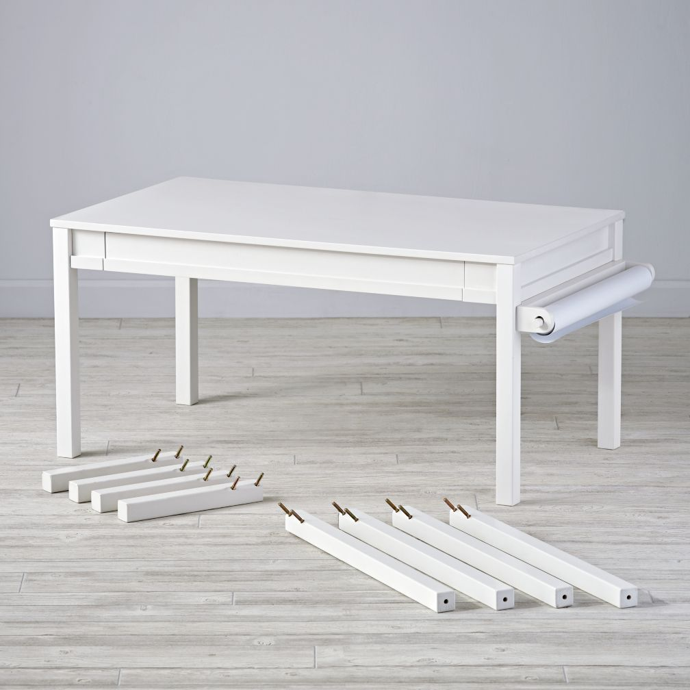 Complete Adjustable White  Activity Table Set