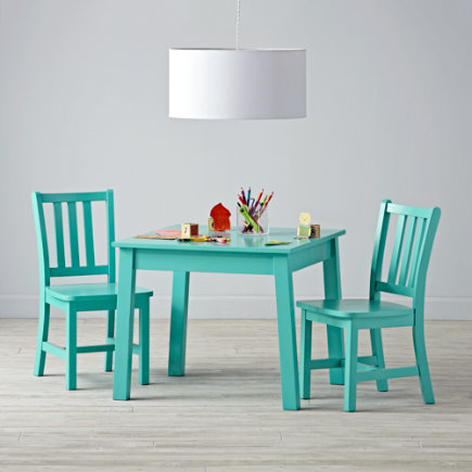 Anywhere Square Azure Play Table & 2 Play Chairs
