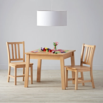 Anywhere Square Natural Play Table & 2 Play Chairs