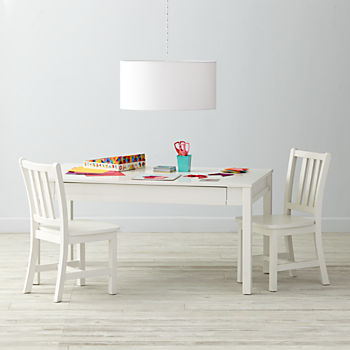 Adjustable White Activity Table & 2 Parker Play Chairs
