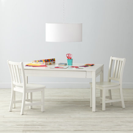 White Rectangle Table & Chair Set - Adjustable White Activity Table & 2 Parker Play Chairs