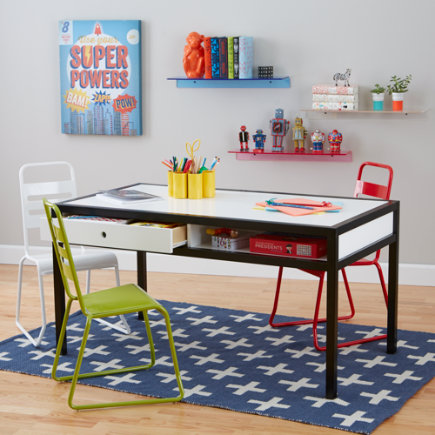 Adjustable Hi-Fi Modern Kids Play Table (White) - 24