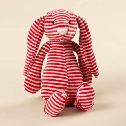 Kids' Stuffed Animals: Kids Plush Striped Bunny - Red Stripe Bunny - Kids Childrens Bedding Boutique