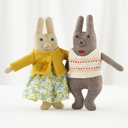 Kids Stuffed Animals: Mimi Kirchner Mr and Mrs Bunny - Mr and Mrs Bunny Set of 2