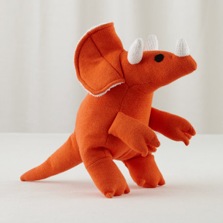 Orange Triceratops Plush Dinosaur