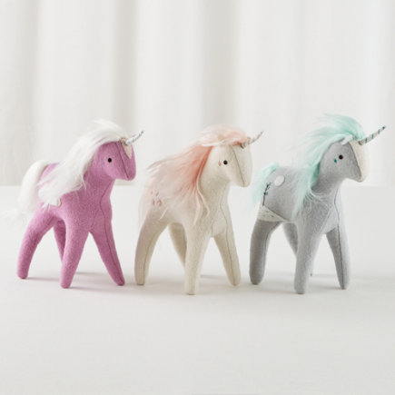Stuffed Unicorn Toy (Grey) - Set of 3 Mythical Plush Unicorns