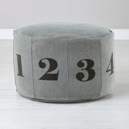 Grey Canvas Numbered Pouf