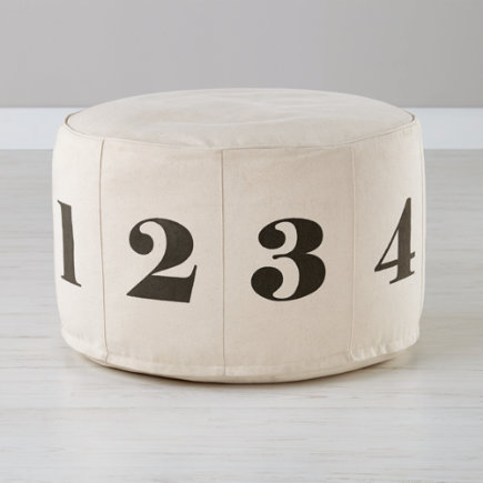 Natural Canvas Numbers Pouf