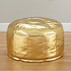 Gold Faux Leather Pouf