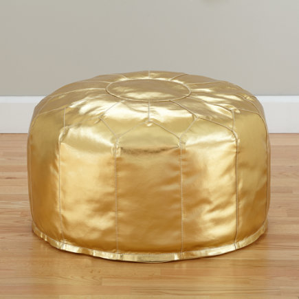 Faux-Leather Seats Come Standard (Gold) - Faux Leather Gold Pouf