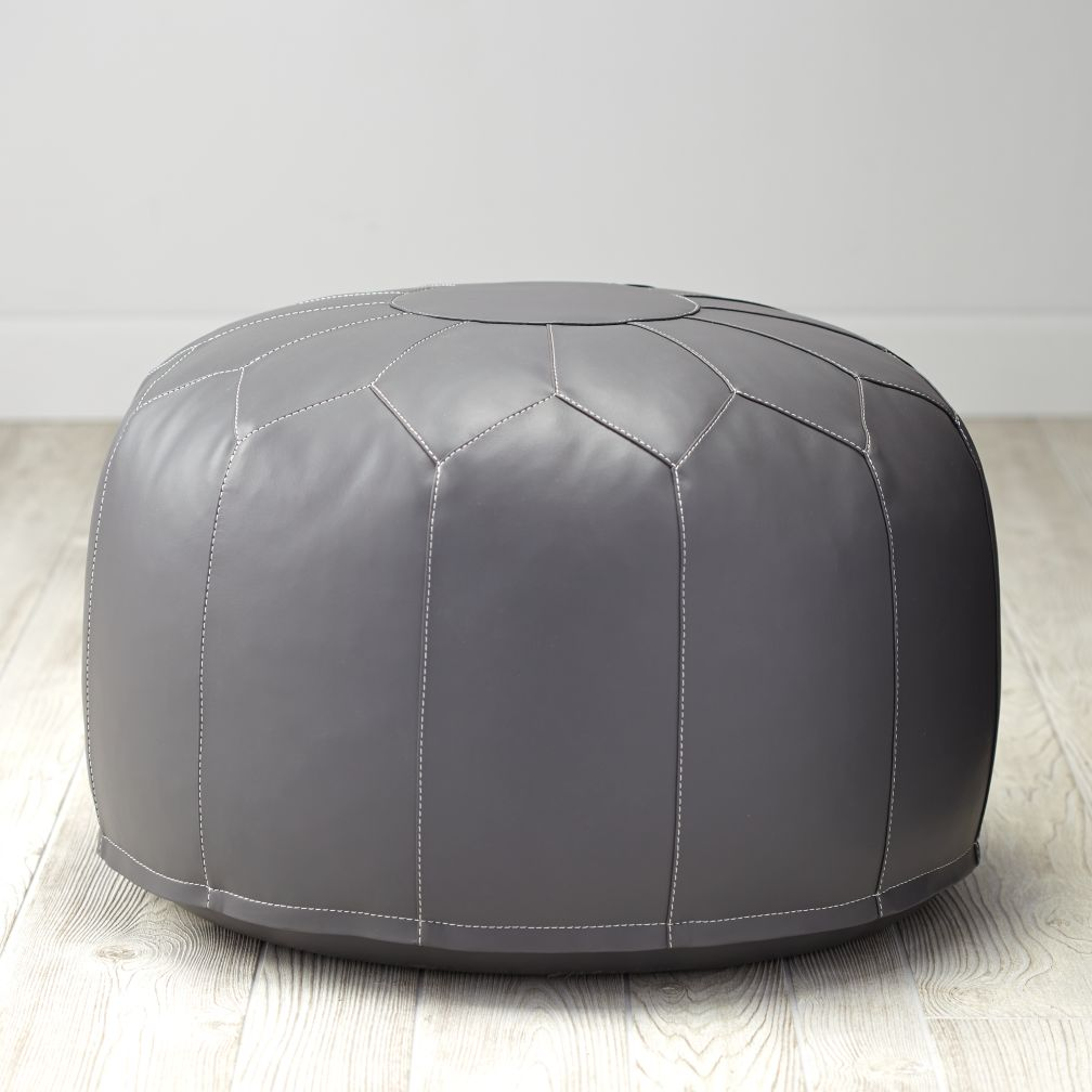 Faux Leather Pouf (Grey)