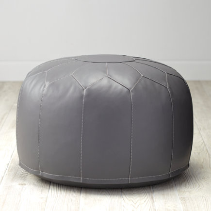 Faux-Leather Poufs (Grey) - Faux Leather Grey Pouf