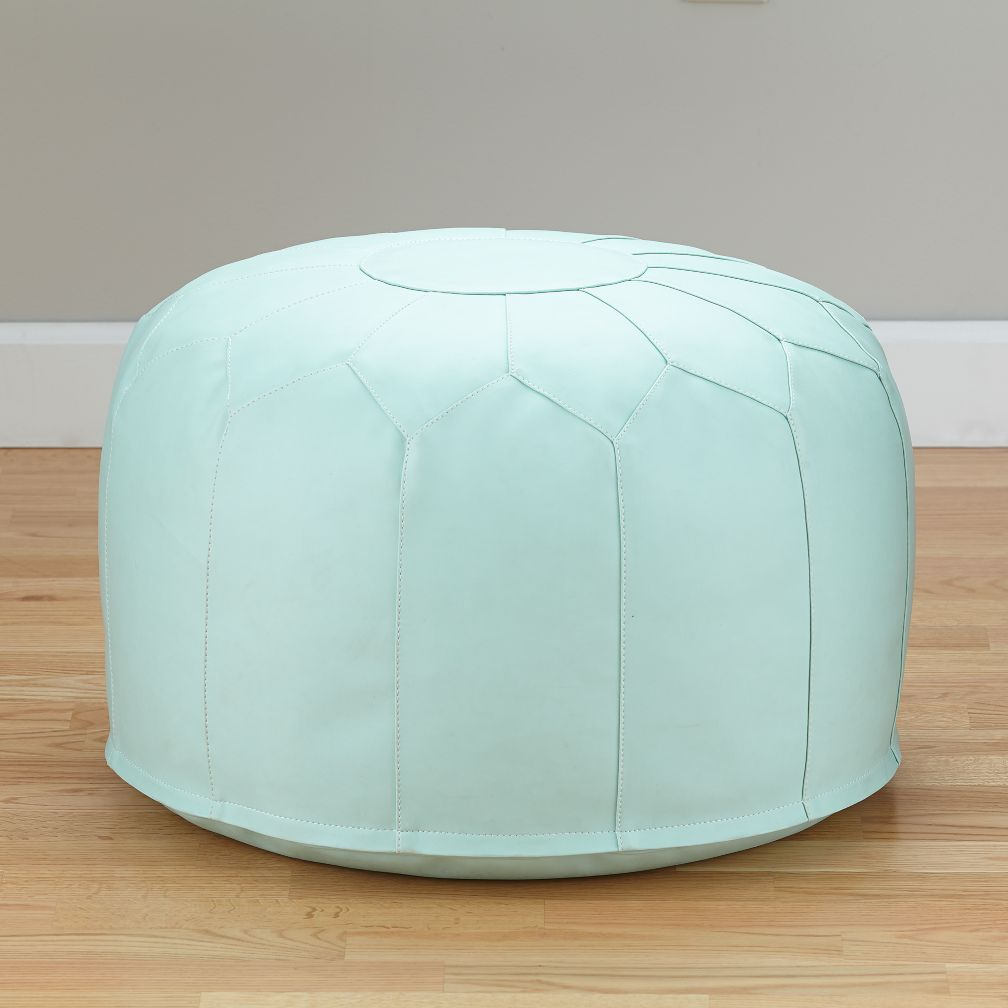 Faux Leather Pouf (Mint)