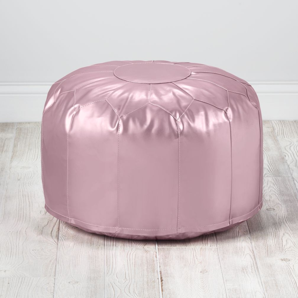 Faux Leather Pink Metallic Pouf