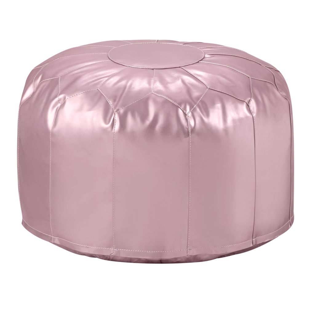 Faux-Leather Pouf (Pink Metallic)