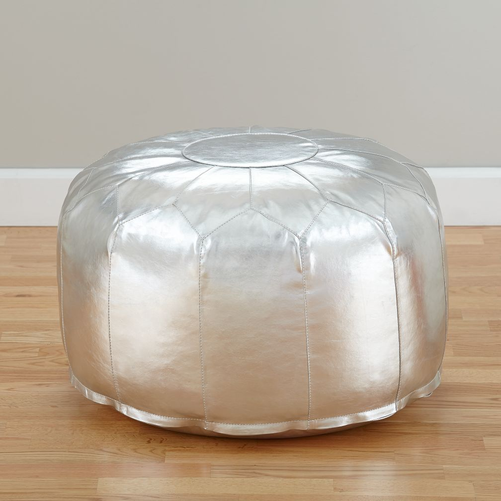 Faux Leather Silver Pouf