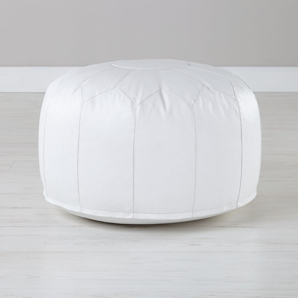 Faux Leather White Pouf