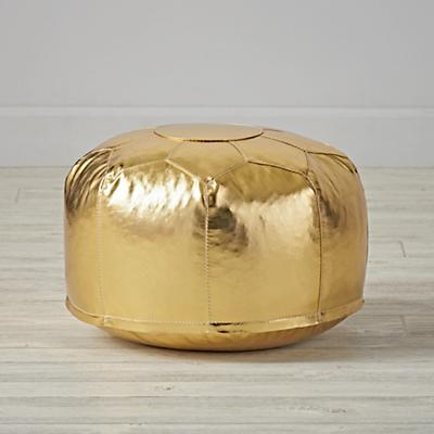 Faux Leather Gold Mini Pouf